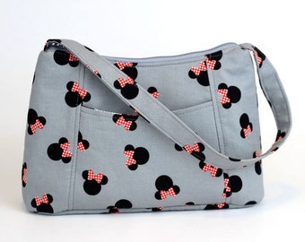 Grey Minnie Mouse Fabric Purse, Fabric Handbag, Casual Purse, Shoulder bag, Disney Purse