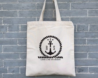 Personalized Monogrammed Bag, Nautical Bag,  Eco friendly Bag, Eco Tote, Canvas Tote Bag, Organic Tote Bag, Beach Bag