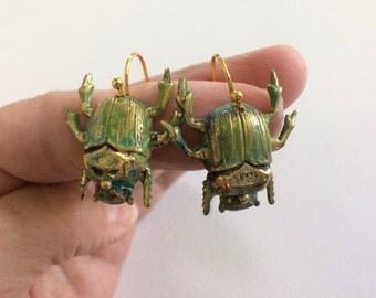 Green Beetle Earrings, Bug, Bug Earrings,  Bug Jewelry,  Weird Stuff, Gifts, Beetle Earrings,  Creepy Jewelry, Creepy Earring, Strange Gifts