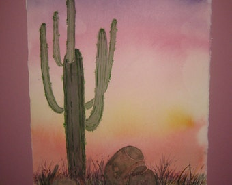 16x20 Watercolor Original Sunset in the Desert, matted, included, optional