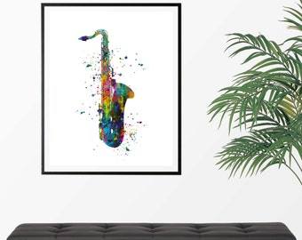 Saxophone 1 Watercolor  Fine  Art Print, Poster, Wall Art, Home Decor, Kids Wall Art, Play Room Wall Art, Archival print