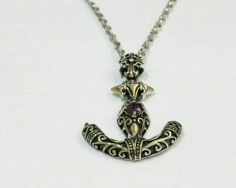 Anchor with Amethyst necklace 990002