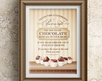 "Printable Chocolate Decadence Clothespin Game Sign; Bridal, Wedding or Baby Shower; 8""x10"", JPG Instant Download"
