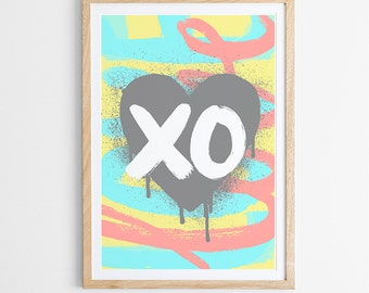 Urban Love Art Print / Various Colours / Love / Quote / Hugs & Kisses / Typography / Poster / Giclee Print