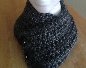 Harbor Scarf - black & gray tweed