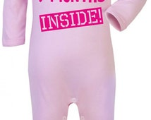 Baby Girl Baby Grow. Just Done 9 Months Inside. Funny Baby Grow. Baby Girl's Bodysuit. Baby Girl Onesie.