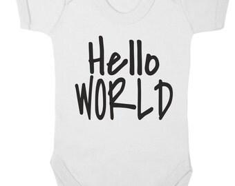 Baby Girl Baby Bodysuit. Hello World Baby Grow. Funny Baby Grow. Baby Girl's Bodysuit. Baby Girl Vest.