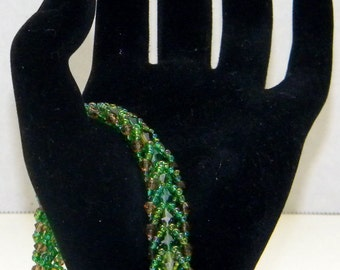 Green & Brown Multi-Colored Beaded Bracelet with Silver Closure