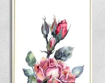 Watercolor rose print home decor office decor wall art print nursery print home office decor watercolor art