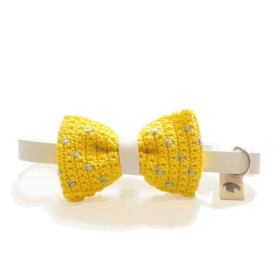 Pet Bow Tie - FREESIA, pet accessories, pet bow tie, yellow bow tie, dog bow tie collar, cat bow tie collar, crochet bow tie