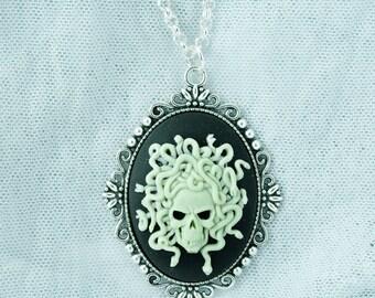 Medusa Snake Skull Cameo Necklace Custom Color available! Pendant Gothic Fantasy
