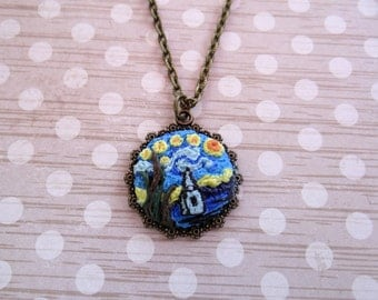 Handcrafted Artisan Polymer Clay Starry Night Pendant Necklace / Monet Water Lily Pond Necklace Handmade