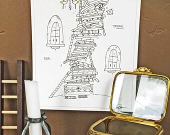 Pea -Hand Drawn, Pen and Ink, Art Print, illustration, Wall art, Kids Room Art