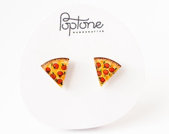 Pizza Earrings, Pepperoni Pizza Studs, Pizza Slice Jewelry, Pizza lover stud earrings