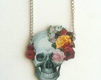 Floral Skull Wooden Necklace