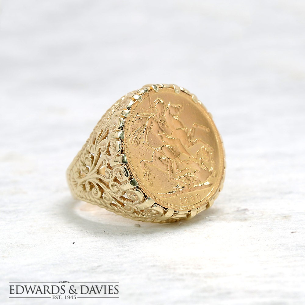 gold sovereign coin ring sovereign ring mens coin ring