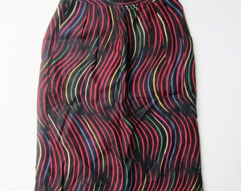LANVIN Paris graphic pattern vintage 1980's skirt