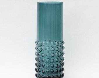 Fantastic vintage retro blue molded glass Vase. Made by Fåglaviks glasbruk, Sweden Scandinavian