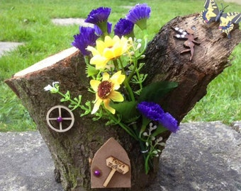 Fairy House for Garden or Home, Ornament, Log, Real Oak