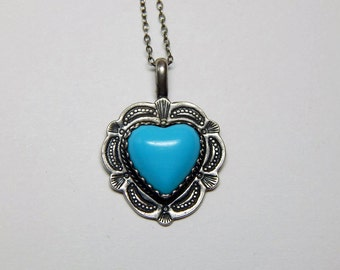 Vintage Sterling CDI Turquoise Heart With Sterling Chain Necklace - Southwestern Sterling Turquoise Heart Pendant - CDI Turquoise Heart