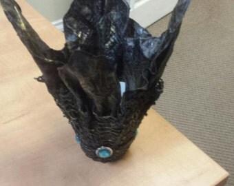 Black Crocheted Vase/Wine holder