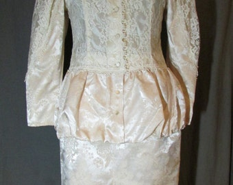 Scott McClintock Ivory Skirt Suit | 1980s Does Victorian | Size 6 | Ivory Wedding Suit | Travel Wedding