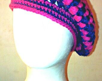 Ready To Ship Crochet Women's Beanie, Women's Beret, Women's Tam, Women's Fuchsia & Navy Blue Hat