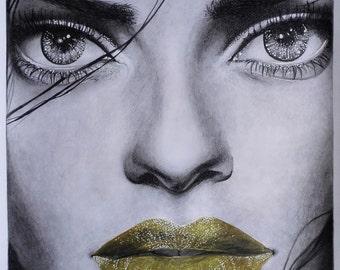 A3 Original Graphite Pencil Portrait Drawing