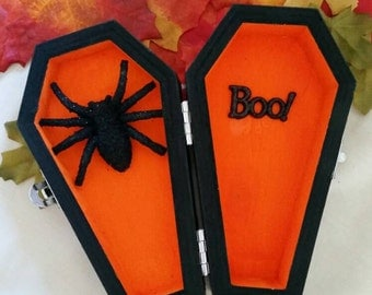 small halloween ornamental coffin with spider and boo halloween party ornament gothic halloween decor