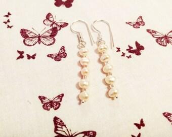 White Freshwater Cultured Pearl Drop Earrings