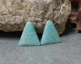 Amazonite triangle cabochon set