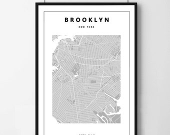 Poster poster map of Brooklyn New York minimalist and simple, original decoration for the House.
