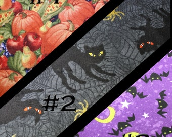 Made to Order Fabric Lanyard & Matching ID Badge Holder. You choose the fabric. Autumn, Fall, Halloween, Pumpkins, Harvest, Bats, Black Cat.