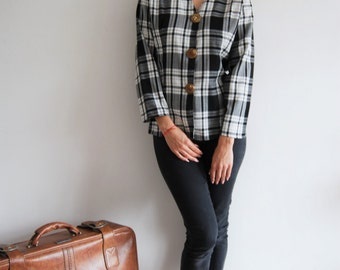 Vintage 80s Black and White Checked Jacket - UK 10/12