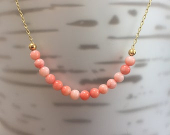 Peach Minimalist Gold/Sterling Silver Necklace