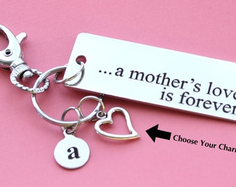 Personalized Mother Key Chain A Mother's Love is Forever Stainless Steel Customized with Your Charm & Initial -K10