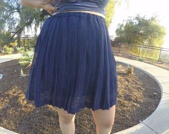 HIGH Waisted Blue & White Polka Skirt