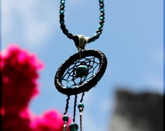 Turquoise dream catcher necklace