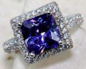 3 ct Amethyst and White Topaz 925 Solid Sterling Silver Ring Sz 6