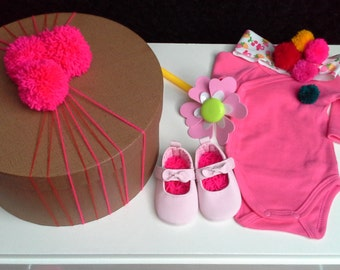 Little Minnie box /baby girl/flower /gift/shoes with bow/clothes body/ hadband with fruit/pink/