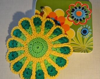 Colorful Flower Crocheted Pot Holder/ Hot Pad *Irene*