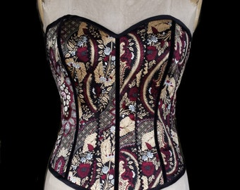 Silk Lace up Corset with paisley silk satin overlay
