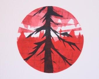 Untitled (black pine, red landscape)
