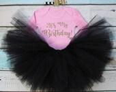 Its My Birthday Baby Girls Outfit Set Black Tutu Gold Glitter Print Pink Vest Bodysuit Onesie