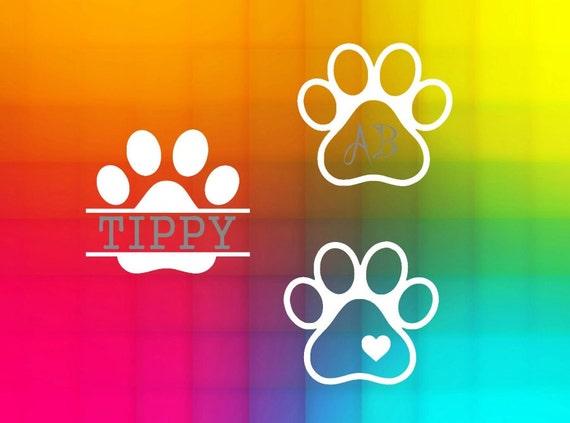 Paw Prints Monogram Svg: Dog Paw Monogram Split SVG Cut File For Silhouette And Cricut