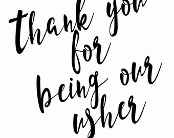 Thank you card for Usher