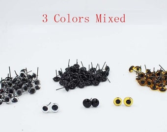 120Pcs-60 Pairs (3 Mixed Color) Glass Eyes On Wire Amber Toy Teddy Bear Eyes Puppets Doll 3-14mm