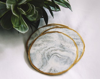 White & Gray Marbled Coasters