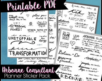 Arbonne Planner Sticker pack, consultant, arbonne goals, printable stickers, handwriting, motivational stickers, journal stickers, gift idea
