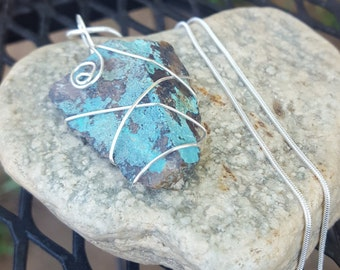 Copper and Turquoise Rock Pendant